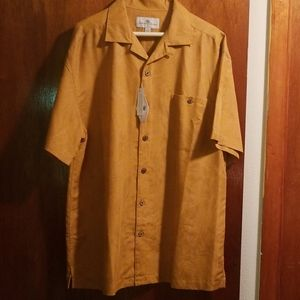 NWT Island Shores Button Down Orange Shirt, Size L